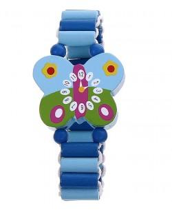 Гривна с дървени мъниста - Синя пеперуда