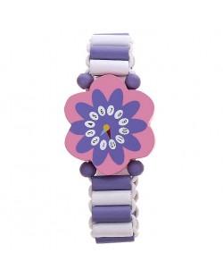 Гривна с дървени мъниста - Лилаво цвете
