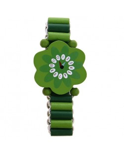 Гривна с дървени мъниста - Зелено цвете