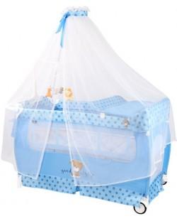 Бебешка кошара на 2 нива Lorelli - Sleep' N Dream, с балдахин, синя