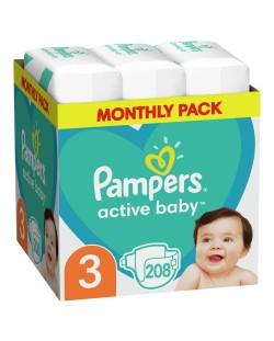 Бебешки пелени Pampers - Active Baby 3, 208 броя