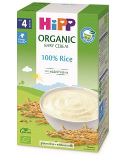 Био безмлечна пълнозърнеста каша Hipp - Ориз, 200 g