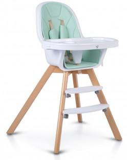 Дървено столче за хранене 2 в 1 Cangaroo - Hygge, мента