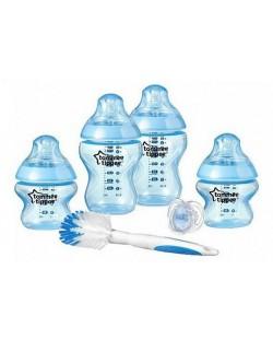 Комплект за новородено Tommee Tippee Closer to Nature - С четка за шишета, син