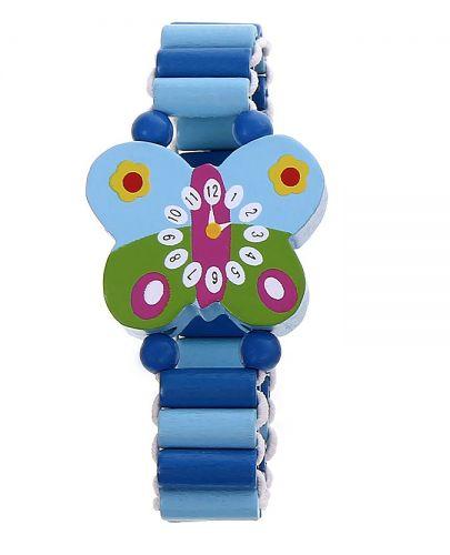 Гривна с дървени мъниста - Синя пеперуда - 1