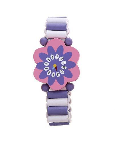 Гривна с дървени мъниста - Лилаво цвете - 1
