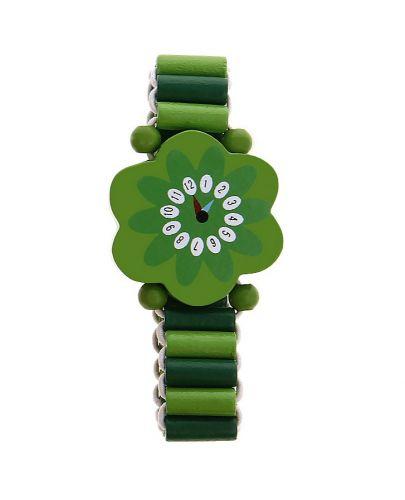 Гривна с дървени мъниста - Зелено цвете - 1