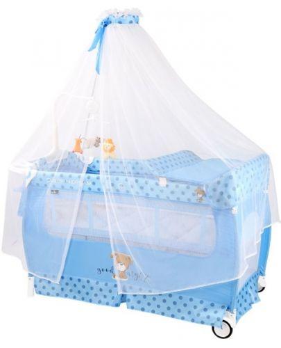 Бебешка кошара на 2 нива Lorelli - Sleep' N Dream, с балдахин, синя - 1