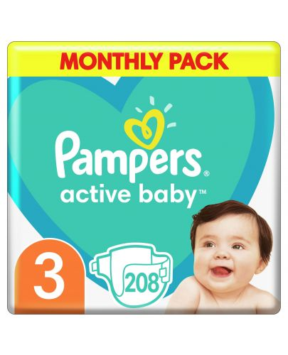 Бебешки пелени Pampers - Active Baby 3, 208 броя  - 4