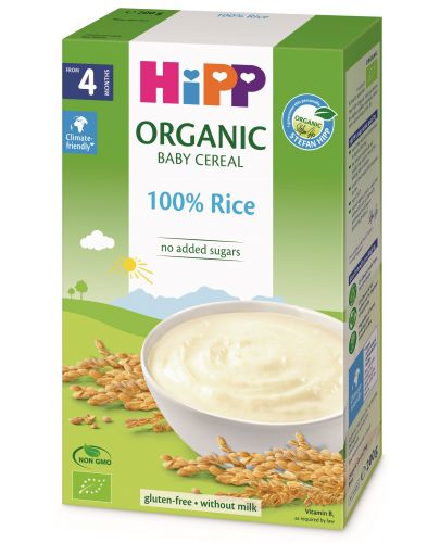 Био безмлечна пълнозърнеста каша Hipp - Ориз, 200 g  - 1