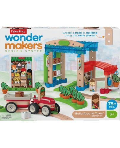 Дървен конструктор Fisher Price Wonder Makers - Малък град, 75 части - 1