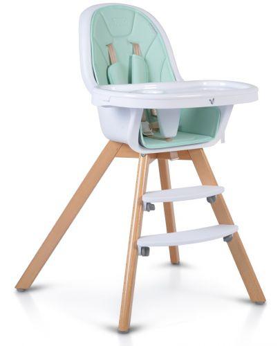 Дървено столче за хранене 2 в 1 Cangaroo - Hygge, мента - 1