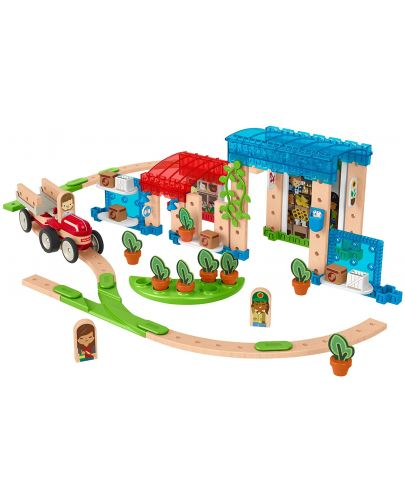 Дървен конструктор Fisher Price Wonder Makers - Малък град, 75 части - 2