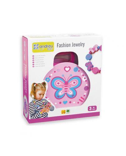 Детски бижута в дървена чантичка Andreu Toys - Цветя - 1