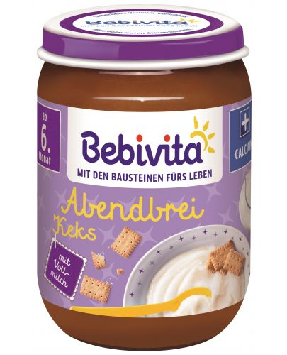 Млечна каша Bebivita Лека нощ - Грис с бисквити, 190 g  - 1