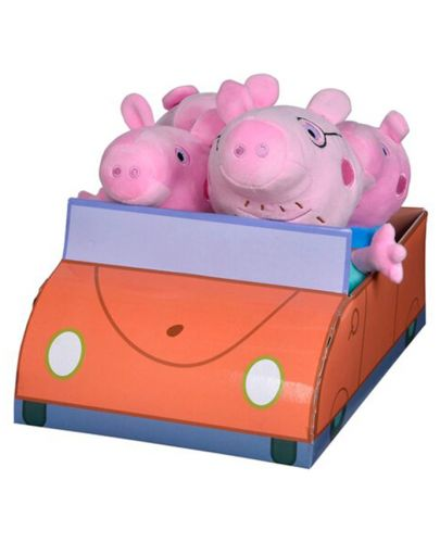 Комплект плюшени играчки Simba Toys Peppa Pig - Семейство в кола - 1