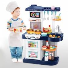 Детска кухня Zhorya - Little Chef, с течаща вода, синя -1