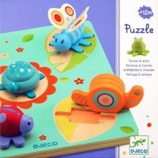 Дървен пъзел Djeco - Turtle And Friends, с 3D фигурки -1