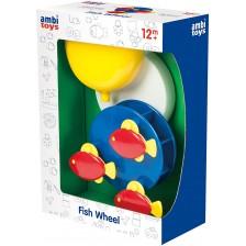 Играчка за баня Ambi Toys - Водно колело с цветни рибки -1