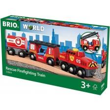 Играчка Brio World - Пожарно влакче -1