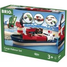 Комплект Brio - Влак с релси и аксесоари, Товарно пристанище, 16 части -1