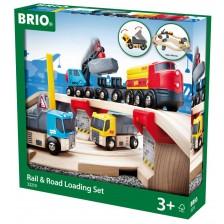 Комплект Brio - Влак с релси и аксесоари, Rail & Road Loading, 32 части -1
