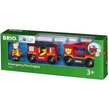 Играчка Brio World - Пожарна кола -1