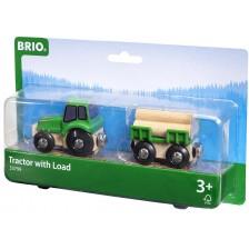 Играчка Brio - Трактор с дървен материал -1