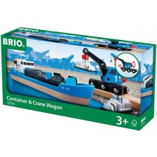 Комплект Brio - Товарен кораб с кран, 4 части -1