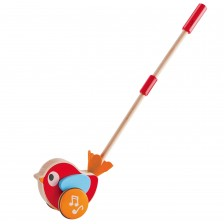 Дървена играчка за бутане Hape - Лили, музикална -1