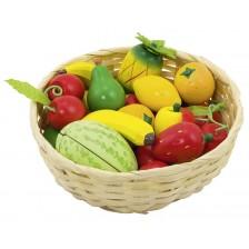 Дървен комплект Goki - Плодове в кошница, 16 части -1