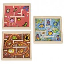 Дървена игра за сръчност със стоманени топчета Goki - Животинчета, асортимент -1