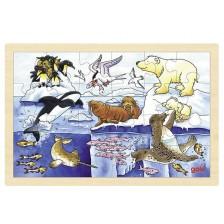 Дървен пъзел Goki - Арктически животни
