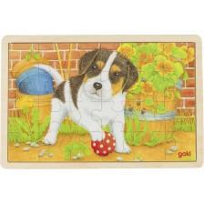 Дървен пъзел Goki - Малко кученце -1