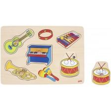 Дървен пъзел Goki - Музикални инструменти, музикален -1