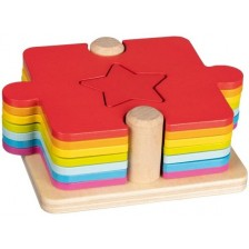 Дървен комплект 2 в 1 Goki - Игра и пъзел -1