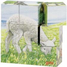 Дървени кубчета Goki - Животни от фермата, девет части -1
