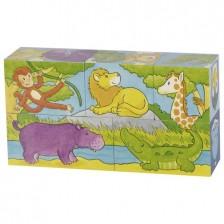 Дървени кубчета Goki - Сафари и Арктика, пет части -1