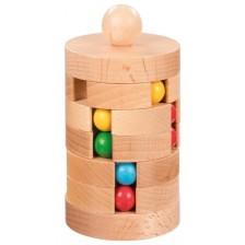 Дървена игра Goki - Кула с топчета -1