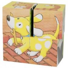 Дървени кубчета Goki - Бебета животни, четири части -1