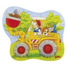 Дървен пъзел Goki - Транспортни средства (асортимент) -1