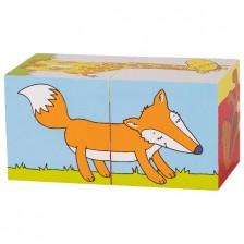 Дървени кубчета Goki - Животни, две части -1