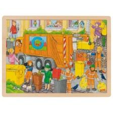 Дървен пъзел Goki - Сметосъбиране -1
