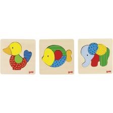 Дървен пъзел Goki - Слон, риба, пате, асортимент -1