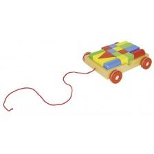 Дървена играчка за дърпане Goki - Количка с конструктор