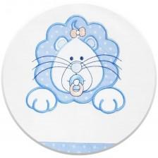 Спален комплект от 3 части за бебешко креватче EKO - Лъвче, син на бели точки -1