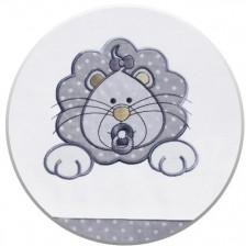 Спален комплект от 3 части за бебешко креватче EKO - Лъвче, сив на бели точки -1