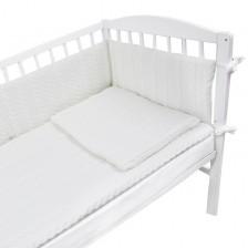 Плетен спален комплект от 4 части за бебешко креватче EKO - Бял -1