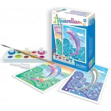 Комплект за оцветяване с акварелни бои Sentosphere Aquarellum Mini - Делфини -1