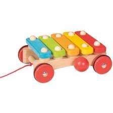 Детски музикален инструмент Goki - Ксилофон, с колела -1